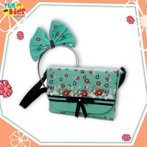 Kit bolsa + tiara Floral Verde