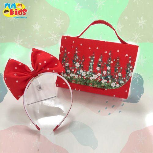 Kit bolsa + tiara Floral Vermelho